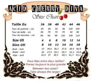 Tableau des tailles Acid Cherry Diva